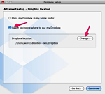 how to change location of dropbox folder
